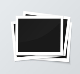 Stack of blank horizontal photo frames from instant camera with shadow isolated on gray background for images. Realistic vector illustration of photo frame with space for images and photos. Photo
