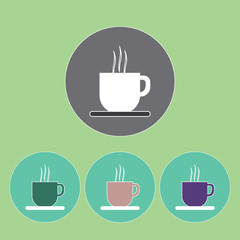 A set of cups of hot coffee with foam and steam in outlines, over a light green background, digital vector image