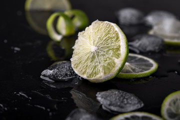 fresh lime with ice and drops