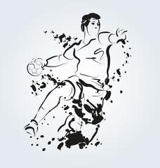 Vector ink illustration of handball player