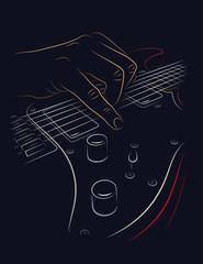 Playing electric guitar.