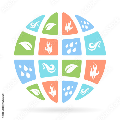 The Four Natural Elements Icons Earth Water Fire And Air On
