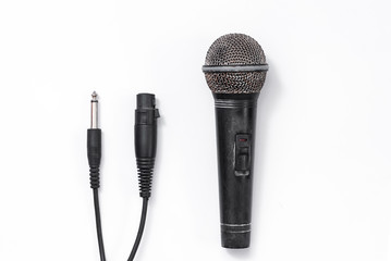grunge microphone on white background