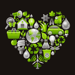 Ecological set with green concept icons in heart on black background
