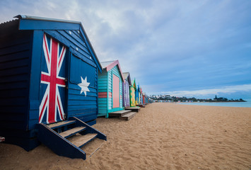 Brighton beach bathing boxes, Melbourne. Brighton beach located