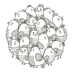 Circle shape pattern with cute birds for coloring book