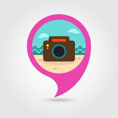 Photo Camera pin map icon. Summer. Vacation