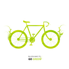 Vector Illustration environmentally design. green watercolor painted bike. Think Green. Eco Concept.