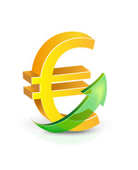 Golden euro currency sign with green arrow up. Vector illustration euro currency rate growing