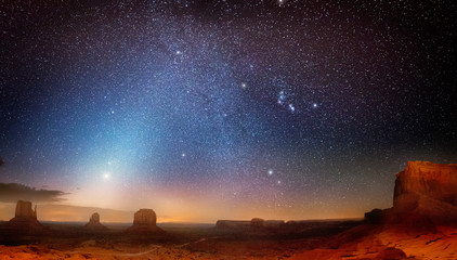 Scenic view of starry sky over the Monument Valley
