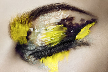 Close up of a woman's closed eye with make up