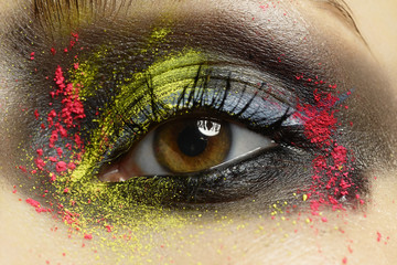 Close up of a woman with colourful eye make up