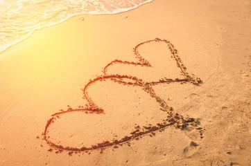 couple heart on sand beach , love
