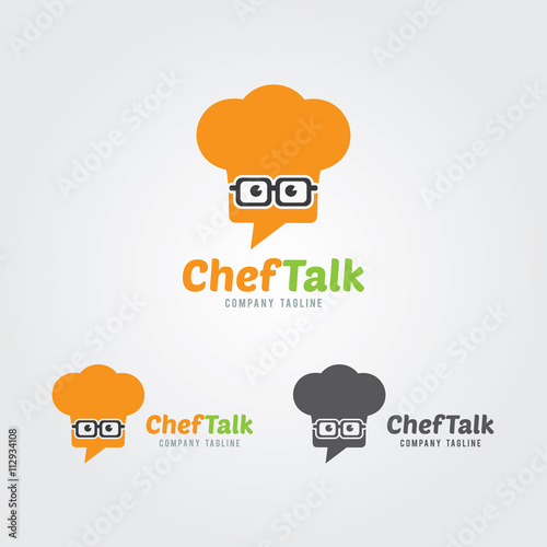 geek chef with chat speech bubble logo template chef hat icon