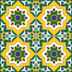 Tile pattern vector seamless with flowers motifs. Azulejo, portuguese tiles, spanish, moroccan, turkish, islamic or arabic tiles design. Tiled print for wrapping, background or ceramic.