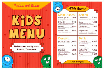 Cute colorful kids meal menu with monsters. Vector template