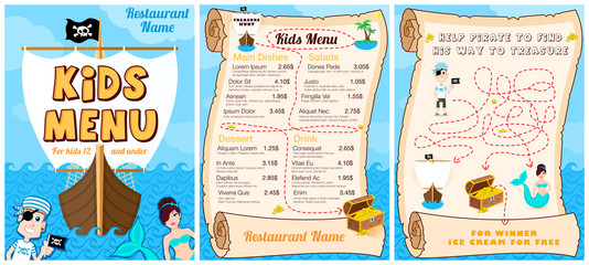 Cute colorful kids meal menu with pirates, game, mermaid. Vector template