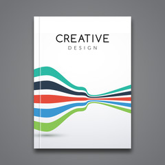 Business report design, flyer template, background with colorful lines. Brochure Cover flyer template mockup layout, vector