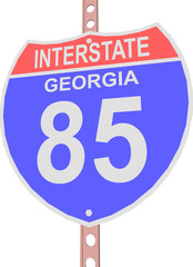 Interstate highway 85 road sign in Georgia