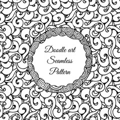 Doodle art. Abstract seamless pattern with twirl feed ribbon. Vector illustration. Coloring books. Black white.