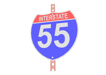 Interstate highway 55 road sign in