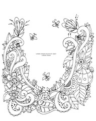 Vector illustration of floral frame Zen Tangle. Dudlart. Coloring book anti stress for adults. Black white.