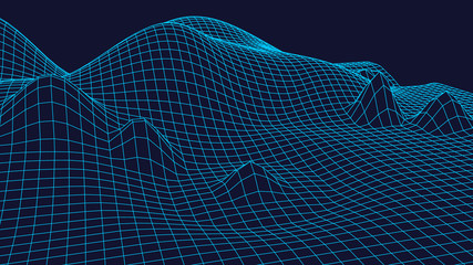 Wireframe Landscape Background. Futuristic Landscape with line Grid. Low Poly 3D Wireframe Mapping. Network Cyber Technology background