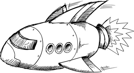 Spaceship Rocket Doodle Sketch Vector