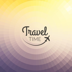 Summer travel Design. Blurred pixelate background. Travel time. Typography