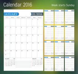 Calendar for 2016 year. Planner template. Vector design print template. Week starts Sunday. Set of 12 calendar pages. Stationery design