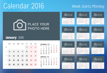 Calendar for 2016 year. Vector design print template with place for photo. Week starts Monday. Set of 12 calendar pages. Stationery design