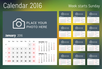 Calendar for 2016 year. Vector design print template with place for photo. Week starts Sunday. Set of 12 calendar pages. Stationery design