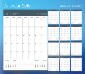 Calendar for 2016 year. Planner template. Vector design print template. Week starts Monday. Set of 12 calendar pages. Stationery design