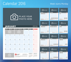 Calendar for 2016 year. Planner template. Vector design print template with place for photo. Week starts Monday. Set of 12 calendar pages. Stationery design
