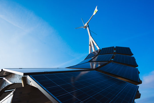 Low angle view of solar energy panel structure and blue sky, Malmo, Sweden