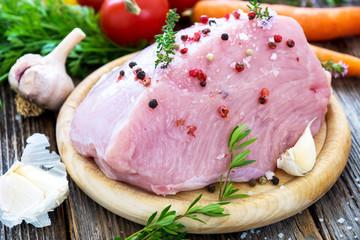 Fresh raw turkey meat on wooden background