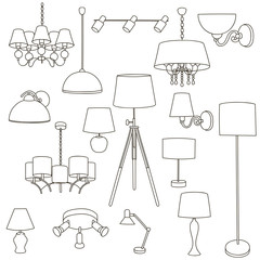 Outline Lamp Icon Set - Vector Graphics