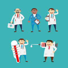 cartoon doctor characters set