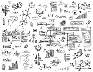 Social network doodles - hand drawn set of media elements.