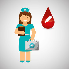 Medical care design. nurse  icon. White background, isolated ill