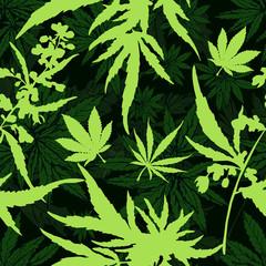 Cannabis leaf vector seamless pattern