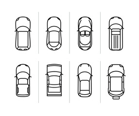 Vector set outline cars top view. Vector car icons
