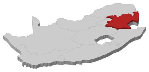 Map - South Africa, Mpumalanga - 3D-Illustration