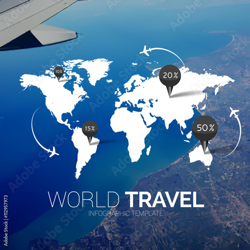 Vector template world map on blurred nature background points world map on blurred nature background points travel concept web gumiabroncs Choice Image
