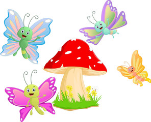 Cute butterfly cartoon with red mushroom