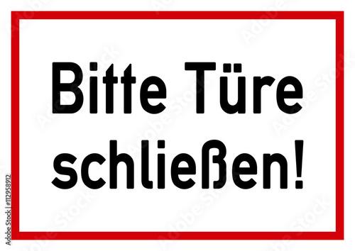 Tür schließen  ws2 WarnSign - Schild - Bitte Türe schliessen - A2 A3 A4 Poster ...