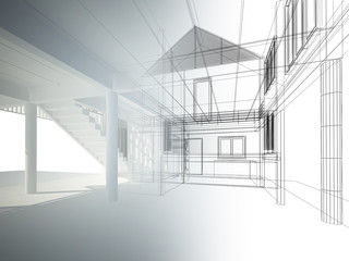 sketch design of interior space ,3d wire frame render