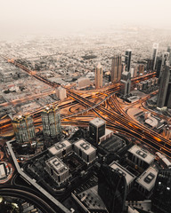Desert intersections - Giant intersection coming alive at dawn in Dubai.