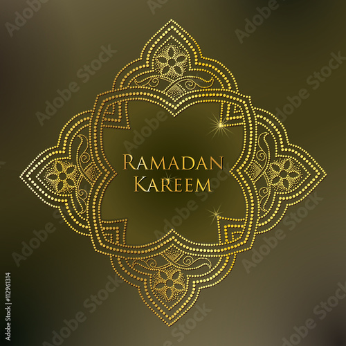 Vector dotted arabesque in gold on the khaki background