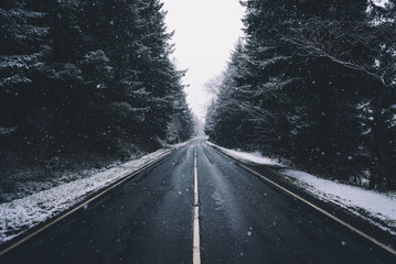 Winter road - Heavy snow on the drive through wintery Scotland.